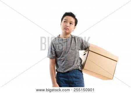 Boy Carry A Brown Carton