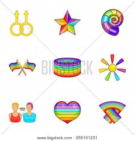 Sexual Minorities Icons Set. Cartoon Illustration Of 9 Sexual Minorities Icons For Web