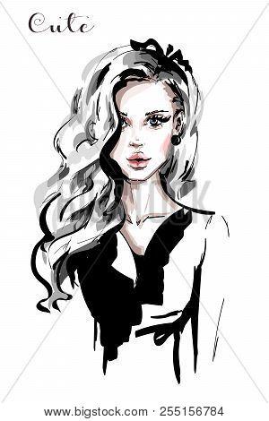 Hand Drawn Beautiful Young Woman With Long Blonde Hair. Stylish Elegant Girl. Fashion Woman Portrait