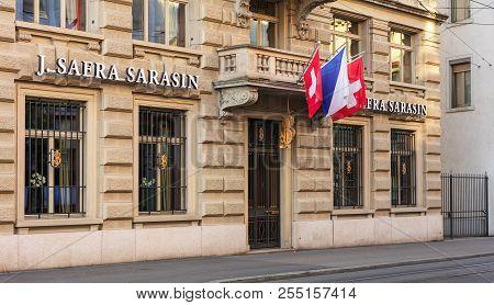 Zurich, Switzerland - August 1, 2018: Office Of Bank J. Safra Sarasin On Bleicherweg Street Closed F