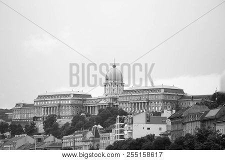 Buda Castle And Royal Palace, Budapest In Monochrome