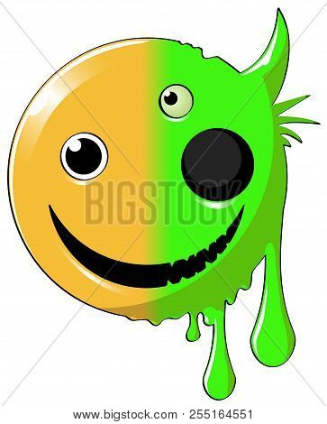 Mutant Happy Face Round Icon, Color Vector Cartoon Illustration Design Element Horizontal, Over Whit
