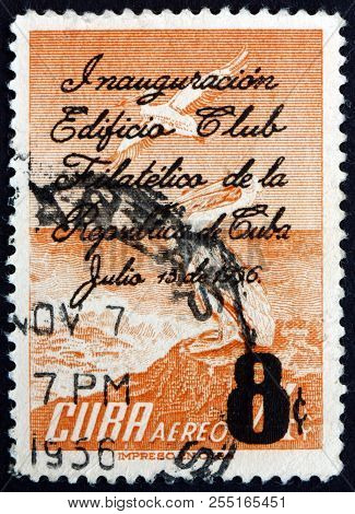 Cuba - Circa 1956: A Stamp Printed In Cuba Shows White Pelicans, Dedicated To Opening Of The New Bui