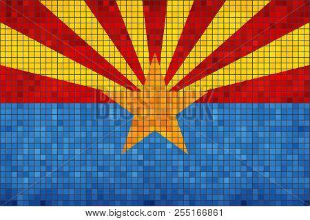 Abstract Mosaic Flag Of Arizona - Illustration,  The Flag Of The State Of Arizona,  Arizona Grunge M
