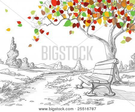 Autumn tree, falling leaves