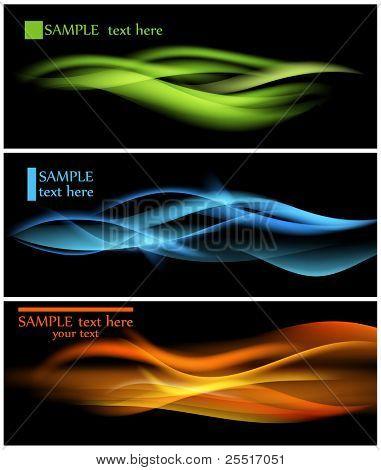 Parlak renkli dalgalar karanlık vektör arka plan üzerinde