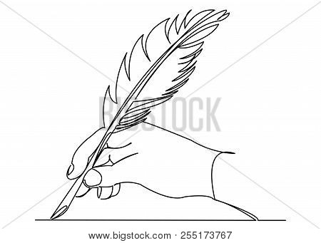 Continuous Single Drawn One Line Pen In Hand Hand-drawn Picture Silhouette Line Art. Doodle. Pen In