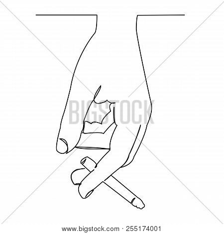 Continuous Single Drawn One-line Hand With A Cigarette Hand-drawn Picture Silhouette. Line Art. Dood