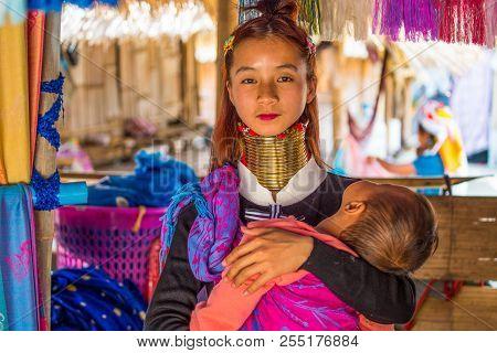 Chiang Rai, Thailand - February 20 2017 - Unidentified Long Neck Karen Hill Tribe People. Karen Long