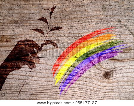 Shadow hands with a flower and a rainbow on a wooden wall background