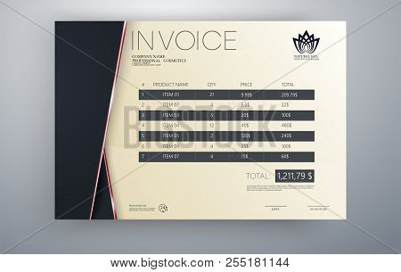 Invoice Vector Template Design In Red Theme.invoice Template. Quotation Table Paper Prder For Bookke