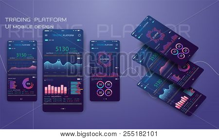 Trade Exchange App On Phone Screen. Mobile Banking Cryptocurrency Ui. Online Stock Trading Interface