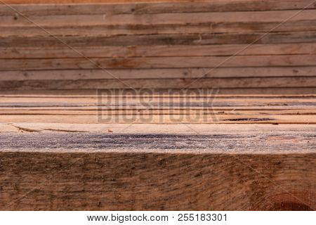 Wooden Pine Background From A Close-up Of Wet Boards, Selective Focus