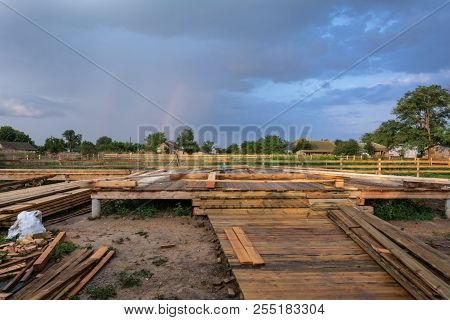 Construction Of A Wooden Frame House With A Triangular Type A