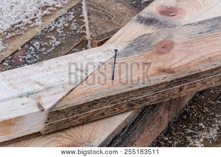 Connection Of Supporting Wooden Beams About The Level, Details Of Construction Of A Frame House