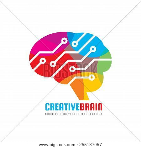 Abstract Human Brain - Business Vector Logo Template Concept Illustration. Creative Idea Sign. Elect