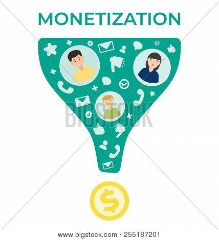 Monetization vector flat illustration .Business template. Modern background. Money making strategy. poster