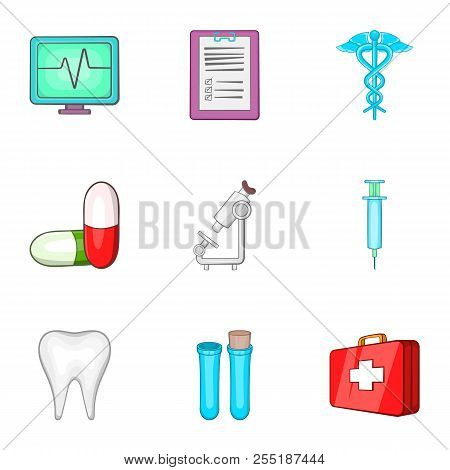 Diagnosis Icons Set. Cartoon Illustration Of 9 Doctoral Icons For Web