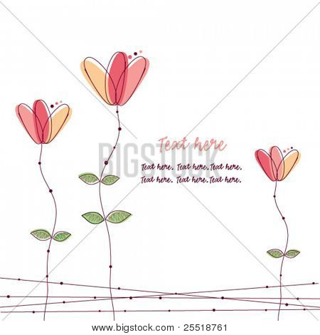Pink doodle flowers