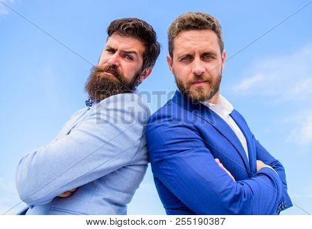 Trust Us We Are Professionals. Lawyer Business Agency. Men Formal Suits Stand Back To Back Blue Sky