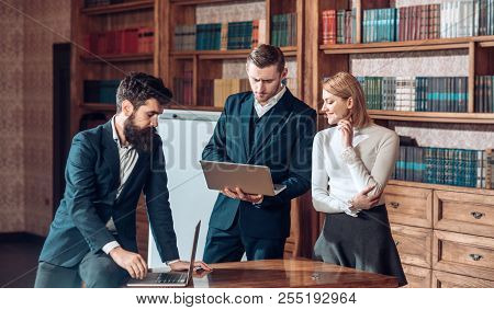 Blogging Concept. Woman And Man Started Blogging In Library. Business People Use Video Blogging And