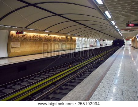 Athens, Greece - July 1, 2018. Acropolis Metro Station Decorated With A Reproduction Of Elgin Marble