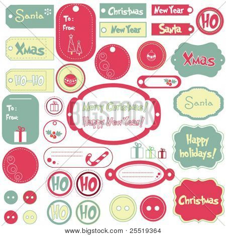 Set of Christmas design frames and stickers