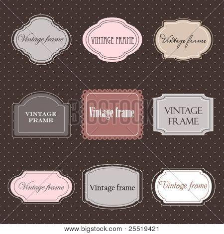 Set of vintage labels with polka dot background