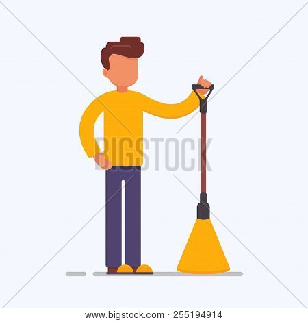 Cartoon Male Vector Character With A Broom. Cleaner Boy Is Holding A Besom.cleaner Roads, Streets, A