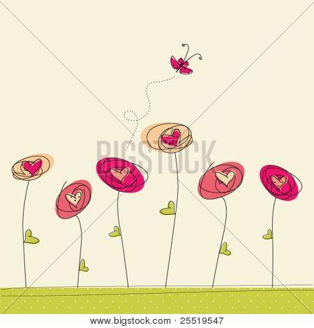 Grußkarte mit Doodle Blumen und Schmetterling