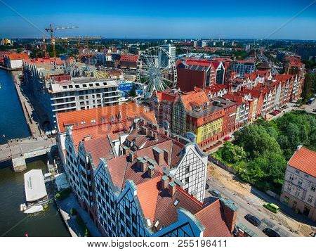 Gdansk Old Town Neat Motlava River  From Above View