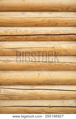 Barn Textured Horizontal With Copy Space Background. Wooden Texture Background Wall Of Blockhouse