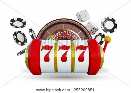 Casino Background Roulette Wheel With Playing Cards, Dice And Chips. Online Casino Poker Big Win Des