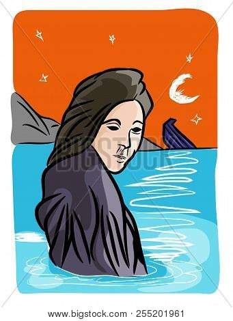 Refugees Problem.  Refugee Woman And A Sinking Boat In The Sea.