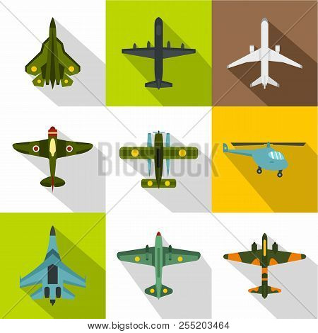 Combat Aircraft Icons Set. Flat Illustration Of 9 Combat Aircraft Icons For Web