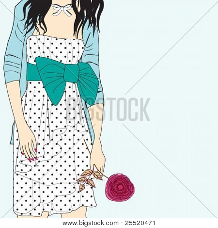 Romantic girl with rose, card for life events (birthday, graduation party,invitation,wedding etc)