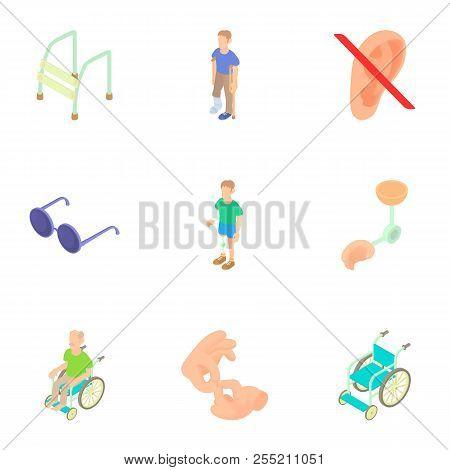 Cripple Icons Set. Cartoon Illustration Of 9 Cripple Icons For Web