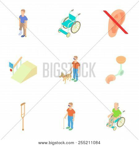 People With Special Needs Opportunities Icons Set. Cartoon Illustration Of 9 People With Special Nee