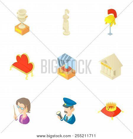 Historical Museum Icons Set. Cartoon Illustration Of 9 Historical Museum Icons For Web