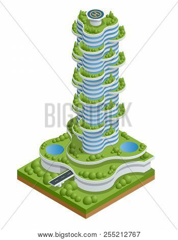 Modern Ecologic Skyscraper With Many Trees On Every Balcony. Ecology And Green Living In City, Urban