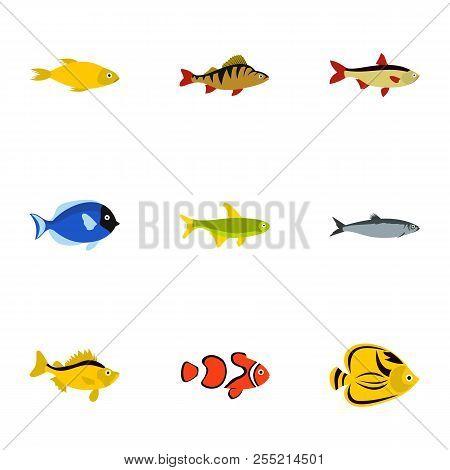 Marine Fish Icons Set. Flat Illustration Of 9 Marine Fish Icons For Web