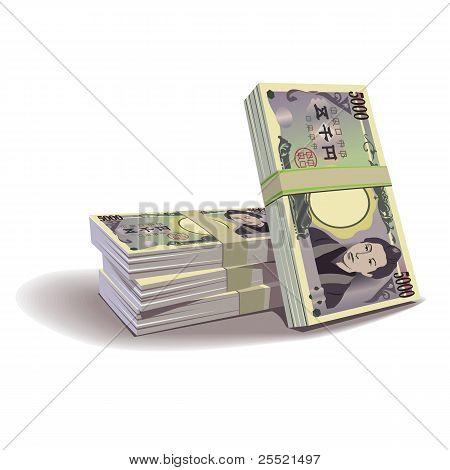 Yen banknotes vector illustration, financial theme