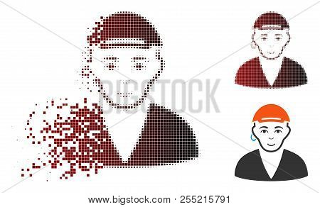 Gay Dude Icon With Face In Sparkle, Pixelated Halftone And Undamaged Entire Variants. Elements Are C