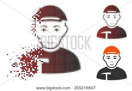 Miner Icon With Face In Dissolved, Dotted Halftone And Undamaged Whole Variants. Points Are Combined