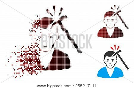 Murder With Hammer Icon With Face In Dispersed, Pixelated Halftone And Undamaged Solid Variants. Ele