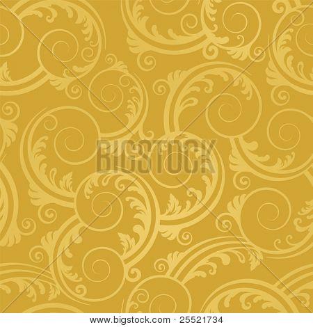 Seamless golden swirls and leaves wallpaper
