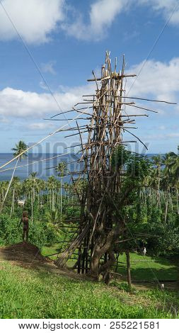 Wooden Tower Built For Land-diving Ritual In The Middle Of Vanuatu