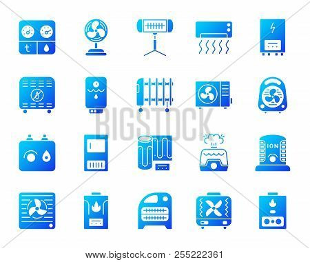 Hvac silhouette icons set. Isolated on white sign kit of climatic equipment. Fan pictogram collection includes blower heating, ionizer, humidifier. Simple contour symbol. Hvac vector icon shape poster