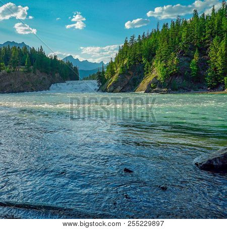 Bow River In Banff Alberta Canada In Summer