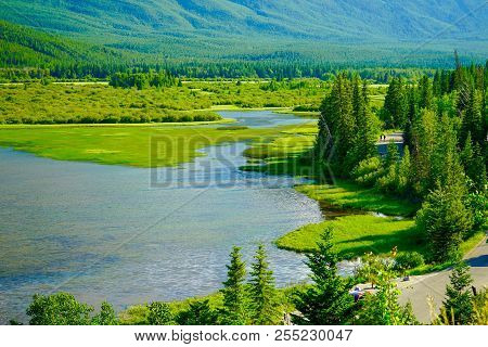 Panoramic View Of Vermillion Lakes Viewpoint At Banff, Alberta, Canada